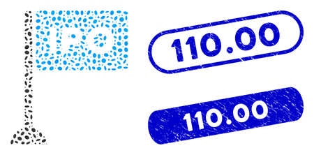 Collage IPO rectangle flag and rubber stamp seals with 110.00 phrase. Mosaic vector IPO rectangle flag is formed with scattered ellipse pieces. 110.00 stamp seals use blue color,