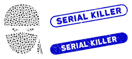 Mosaic ninja head and corroded stamp seals with Serial Killer phrase. Mosaic vector ninja head is formed with randomized ellipse items. Serial Killer stamp seals use blue color,
