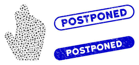 Mosaic manage hand and grunge stamp seals with Postponed phrase. Mosaic vector manage hand is designed with randomized elliptic items. Postponed stamp seals use blue color,