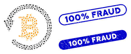 Mosaic Bitcoin chargeback and rubber stamp seals with 100% Fraud phrase. Mosaic vector Bitcoin chargeback is designed with random elliptic items. 100% Fraud stamp seals use blue color,