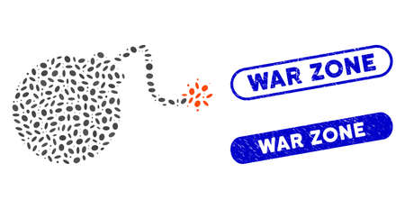Mosaic bomb and grunge stamp seals with War Zone caption. Mosaic vector bomb is created with randomized elliptic items. War Zone stamp seals use blue color, and have round rectangle shape.