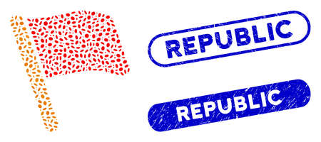 Mosaic flag and corroded stamp seals with Republic caption. Mosaic vector flag is composed with randomized ellipse spots. Republic stamp seals use blue color, and have round rectangle shape.