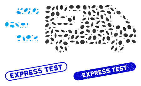 Mosaic fast Dash delivery car and corroded stamp seals with Express Test phrase. Mosaic vector fast Dash delivery car is formed with random ellipse spots. Express Test stamp seals use blue color, Illustration