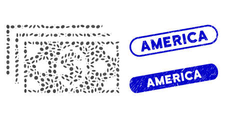 Collage dollar banknotes and rubber stamp seals with America text. Mosaic vector dollar banknotes is designed with random elliptic dots. America stamp seals use blue color,