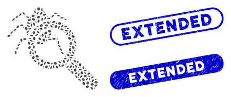Collage debugger explorer and grunge stamp seals with Extended caption. Mosaic vector debugger explorer is formed with random ellipse spots. Extended stamp seals use blue color,