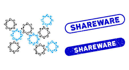 Mosaic gears and distressed stamp watermarks with Shareware phrase. Mosaic vector gears is designed with random ellipse pieces. Shareware stamp seals use blue color, and have round rectangle shape. 向量圖像