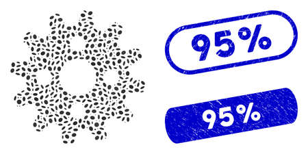 Collage cogwheel and rubber stamp seals with 95% text. Mosaic vector cogwheel is designed with randomized ellipse dots. 95% stamp seals use blue color, and have round rectangle shape.