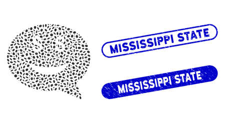 Mosaic rich smiley message and rubber stamp seals with Mississippi State caption. Mosaic vector rich smiley message is created with randomized oval items. Mississippi State seals use blue color,
