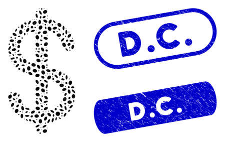 Mosaic dollar and corroded stamp seals with D.C. caption. Mosaic vector dollar is designed with randomized ellipse parts. D.C. stamp seals use blue color, and have round rectangle shape.