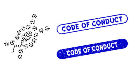 Mosaic DNA replication and distressed stamp seals with Code of Conduct phrase. Mosaic vector DNA replication is created with random oval pieces. Code of Conduct stamp seals use blue color,
