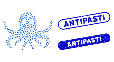 Mosaic octopus and grunge stamp seals with Antipasti phrase. Mosaic vector octopus is created with random ellipse pieces. Antipasti stamp seals use blue color, and have round rectangle shape.