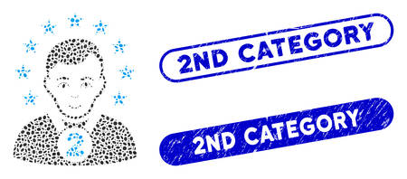 Mosaic 2nd prizer sportsman and rubber stamp watermarks with 2Nd Category text. Mosaic vector 2nd prizer sportsman is formed with random elliptic elements. 2Nd Category stamp seals use blue color, Vetores