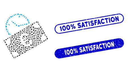 Mosaic Euro recurring payment and rubber stamp seals with 100% Satisfaction phrase. Mosaic vector Euro recurring payment is composed with scattered oval spots. Çizim
