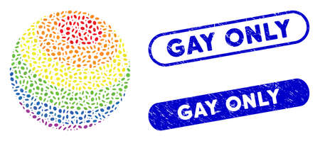 Mosaic LGBT color stripes sphere and rubber stamp seals with Gay Only phrase. Mosaic vector LGBT color stripes sphere is designed with scattered ellipse elements. Gay Only seals use blue color, Stock Illustratie