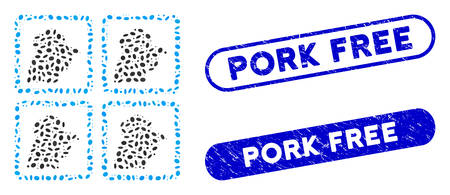 Mosaic chicken factory and distressed stamp seals with Pork Free caption. Mosaic vector chicken factory is composed with scattered elliptic dots. Pork Free stamp seals use blue color,