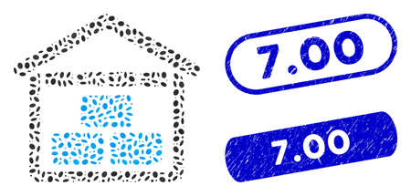 Mosaic warehouse and distressed stamp seals with 7.00 phrase. Mosaic vector warehouse is created with randomized ellipse dots. 7.00 stamp seals use blue color, and have round rectangle shape.