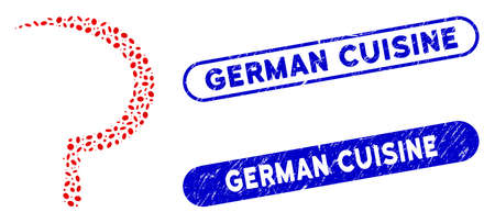 Collage sickle and grunge stamp seals with German Cuisine caption. Mosaic vector sickle is formed with scattered oval spots. German Cuisine stamp seals use blue color, and have round rectangle shape.