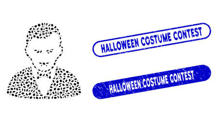 Mosaic vampire and grunge stamp seals with Halloween Costume Contest caption. Mosaic vector vampire is formed with random oval spots. Halloween Costume Contest stamp seals use blue color,