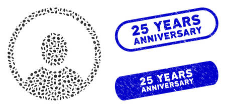 Mosaic rounded user portrait and corroded stamp seals with 25 Years Anniversary caption. Mosaic vector rounded user portrait is formed with random oval pieces.
