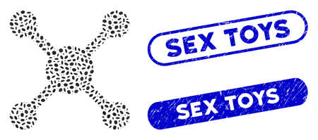 Mosaic roulette and grunge stamp seals with Sex Toys phrase. Mosaic vector roulette is composed with scattered oval items. Sex Toys stamp seals use blue color, and have round rectangle shape. Ilustracja