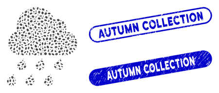 Mosaic rain cloud and corroded stamp seals with Autumn Collection text. Mosaic vector rain cloud is designed with randomized ellipse elements. Autumn Collection stamp seals use blue color,