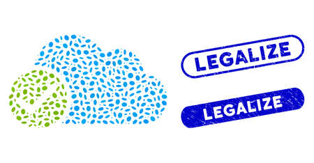 Mosaic valid cloud and grunge stamp seals with Legalize phrase. Mosaic vector valid cloud is formed with scattered elliptic parts. Legalize stamp seals use blue color, and have round rectangle shape.