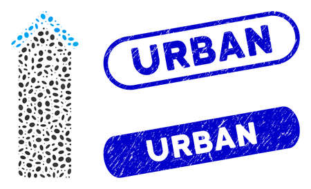 Mosaic time tower and distressed stamp seals with Urban text. Mosaic vector time tower is composed with randomized ellipse dots. Urban stamp seals use blue color, and have round rectangle shape.  イラスト・ベクター素材