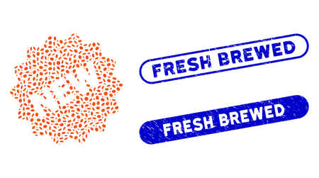 Mosaic new tag and grunge stamp seals with Fresh Brewed text. Mosaic vector new tag is composed with randomized oval items. Fresh Brewed stamp seals use blue color, and have round rectangle shape. Ilustração