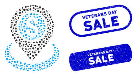 Mosaic money location and distressed stamp seals with Veterans Day Sale caption. Mosaic vector money location is composed with scattered elliptic pieces. Veterans Day Sale seals use blue color, Ilustracja