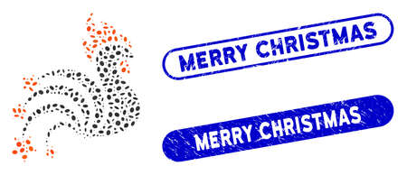 Mosaic rooster sparkles and grunge stamp watermarks with Merry Christmas text. Mosaic vector rooster sparkles is formed with randomized elliptic items. Merry Christmas seals use blue color,