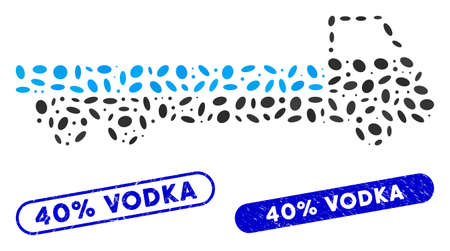 Mosaic truck and corroded stamp seals with 40% Vodka text. Mosaic vector truck is composed with random elliptic elements. 40% Vodka stamp seals use blue color, and have round rectangle shape.