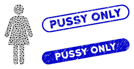 Mosaic woman and rubber stamp seals with Pussy Only text. Mosaic vector woman is created with randomized elliptic spots. Pussy Only stamp seals use blue color, and have round rectangle shape.