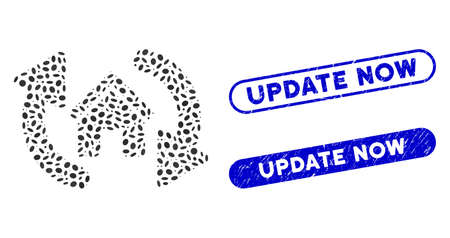 Mosaic update house and rubber stamp seals with Update Now text. Mosaic vector update house is designed with scattered elliptic elements. Update Now stamp seals use blue color,