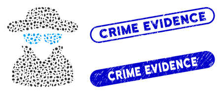 Mosaic spy and corroded stamp seals with Crime Evidence text. Mosaic vector spy is designed with scattered oval parts. Crime Evidence stamp seals use blue color, and have round rectangle shape.