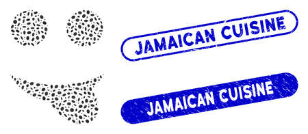 Mosaic tongue smiley and rubber stamp seals with Jamaican Cuisine phrase. Mosaic vector tongue smiley is designed with scattered oval dots. Jamaican Cuisine stamp seals use blue color,