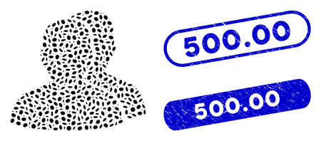 Mosaic users and corroded stamp seals with 500.00 caption. Mosaic vector users is designed with scattered elliptic dots. 500.00 stamp seals use blue color, and have round rectangle shape.