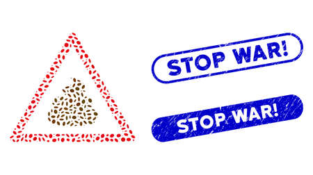 Mosaic shit warning and grunge stamp seals with Stop War! phrase. Mosaic vector shit warning is created with randomized oval items. Stop War! seals use blue color, and have round rectangle shape.