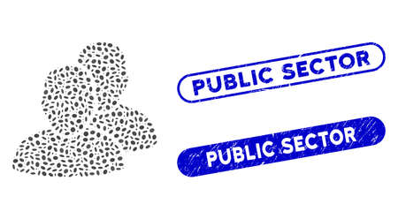 Mosaic users and distressed stamp seals with Public Sector caption. Mosaic vector users is designed with random ellipse spots. Public Sector stamp seals use blue color, and have round rectangle shape. Vecteurs