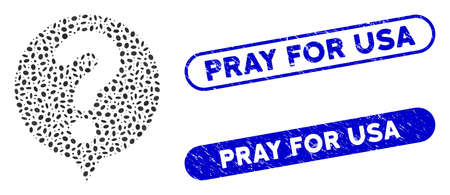Mosaic status balloon and rubber stamp seals with Pray for USA phrase. Mosaic vector status balloon is designed with randomized ellipse dots. Pray for USA stamp seals use blue color,