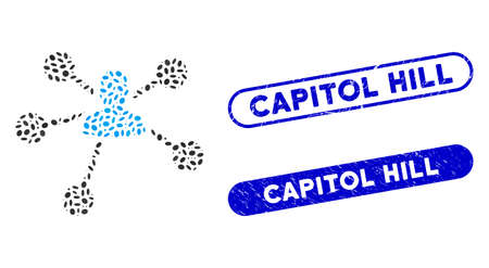 Mosaic person relations and grunge stamp seals with Capitol Hill text. Mosaic vector person relations is designed with scattered elliptic items. Capitol Hill seals use blue color,