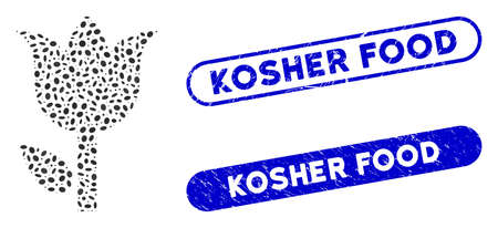 Collage tulip and rubber stamp seals with Kosher Food phrase. Mosaic vector tulip is composed with random ellipse pieces. Kosher Food stamp seals use blue color, and have round rectangle shape.