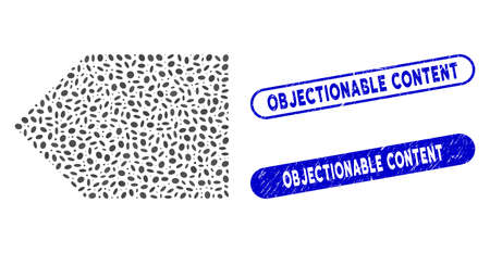 Mosaic tag and rubber stamp seals with Objectionable Content text. Mosaic vector tag is formed with scattered oval parts. Objectionable Content stamp seals use blue color,