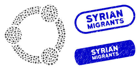 Collage network relations and grunge stamp seals with Syrian Migrants caption. Mosaic vector network relations is composed with randomized ellipse dots. Syrian Migrants stamp seals use blue color,