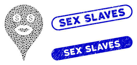 Mosaic prostitute smiley map marker and distressed stamp seals with Sex Slaves caption. Mosaic vector prostitute smiley map marker is composed with scattered elliptic dots.