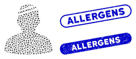 Mosaic patient and corroded stamp seals with Allergens caption. Mosaic vector patient is formed with randomized ellipse pieces. Allergens seals use blue color, and have round rectangle shape.