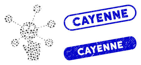Mosaic press smile banking network and corroded stamp seals with Cayenne caption. Mosaic vector press smile banking network is composed with randomized elliptic dots. Cayenne seals use blue color,