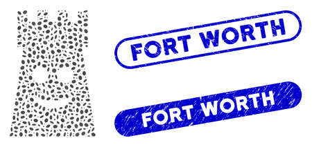 Mosaic glad fort tower and corroded stamp seals with Fort Worth text. Mosaic vector glad fort tower is formed with randomized ellipse parts. Fort Worth stamp seals use blue color, 일러스트