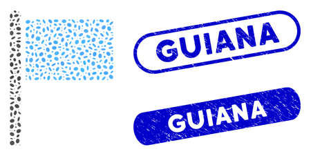 Mosaic flag pointer and corroded stamp seals with Guiana phrase. Mosaic vector flag pointer is formed with scattered oval parts. Guiana stamp seals use blue color, and have round rectangle shape.