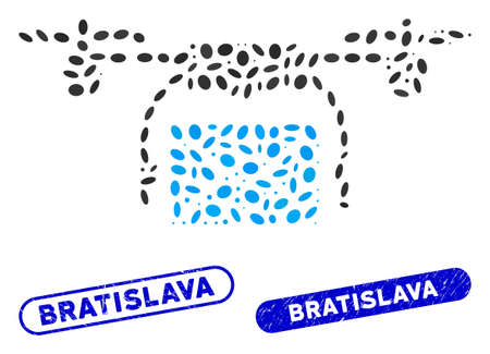 Mosaic mail delivery drone and rubber stamp seals with Bratislava caption. Mosaic vector mail delivery drone is designed with randomized ellipse dots. Bratislava stamp seals use blue color,