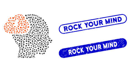 Mosaic brainstorm and rubber stamp seals with Rock Your Mind caption. Mosaic vector brainstorm is created with random oval dots. Rock Your Mind stamp seals use blue color,